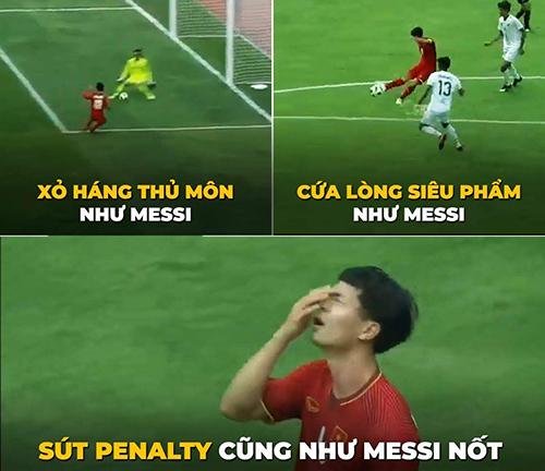 Công Phượng được người yêu bóng đá đánh giá sở hữu những kỹ thuật như Messi. Tuy nhiên,trong trận vớiPakistan hôm qua, tiền đạo mang áo số 9 của Việt Nam đã bỏ lỡ hai cơ hội ghi bàn từ chấm phạt đền.Messi cũng có một số lần đá hỏng penalty.