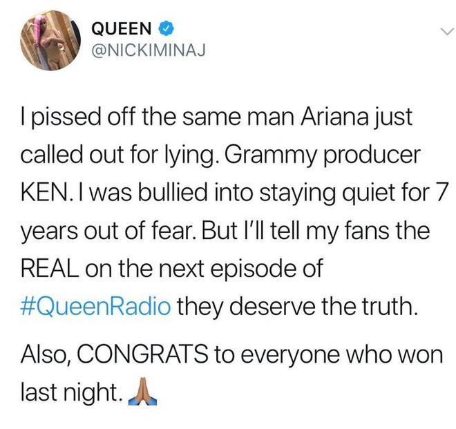 Nicki Minaj tiết lộ từng là nạn nhân như Ariana, bị Grammy chèn ép suốt 7 năm  - Ảnh 1.