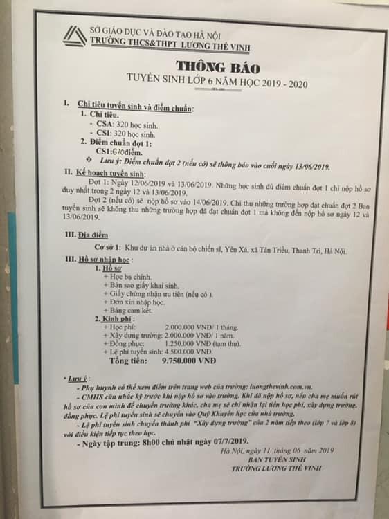 Trường Lương Thế Vinh xin lỗi học sinh vì hạ điểm chuẩn do nhầm lẫn - ảnh 2