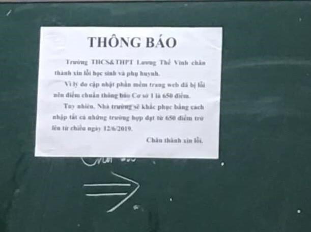 Trường Lương Thế Vinh xin lỗi học sinh vì hạ điểm chuẩn do nhầm lẫn - ảnh 1