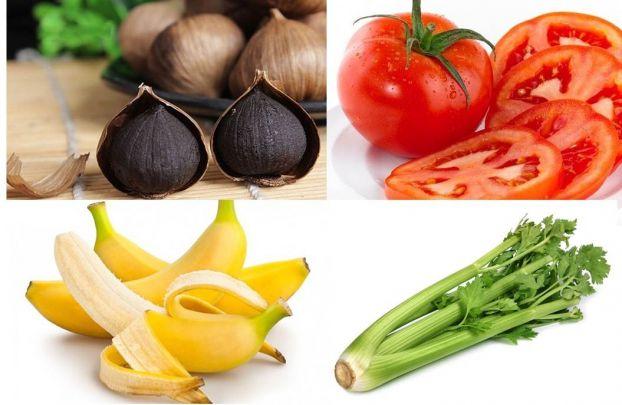 Chuối, cà chua, tỏi đen, cần tây... đều là những thực phẩm giàu dinh dưỡng và giúp kiểm soát huyết áp hiệu quả. Ảnh minh họa