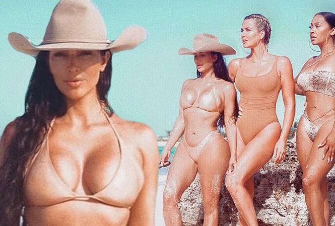 'Kim siêu vòng 3' và hội chị em 'thiêu đốt' ánh nhìn với bikini màu nude