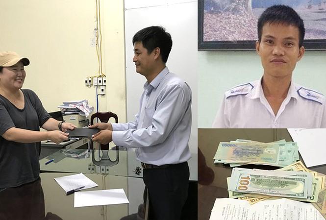 Đại diện hãng taxi trao lại ví cho nữ hành khách Hàn Quốc (ảnh lớn). Tài xế Nguyễn Văn Tranh (ảnh nhỏ) và số tiền gần 45 triệu đồng trong ví (ảnh nhỏ).